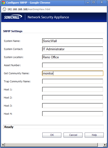 Sonicwall TZ210 Firewall- How to Add SNMP Community String